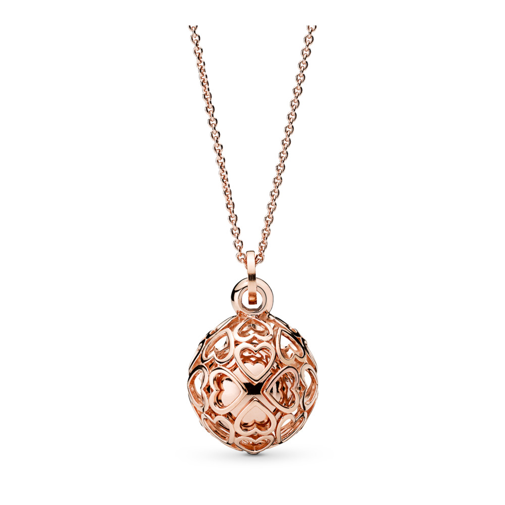 Collier Carillon cœurs en harmonie, PANDORA Rose, PANDORA ROSE, Aucun autre matériel, Aucune couleur, Aucune pierre - PANDORA - #387299