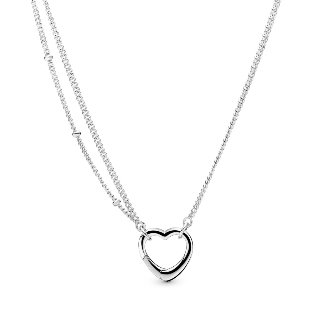 Open Heart Necklace, Sterling silver - PANDORA - #397204