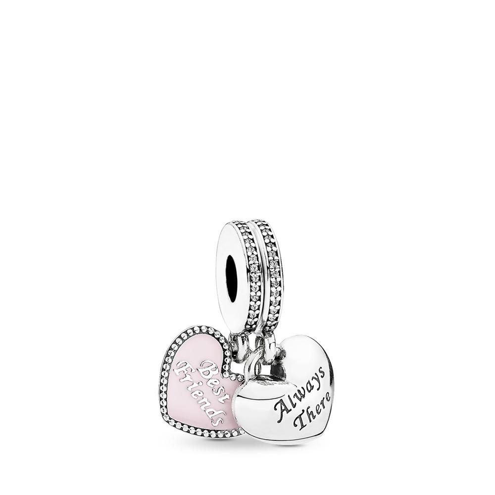 Best Friends, Soft Pink Enamel & Clear CZ, Sterling Silver Oxidised, Enamel, Pink, Cubic Zirconia - PANDORA - #791950CZ