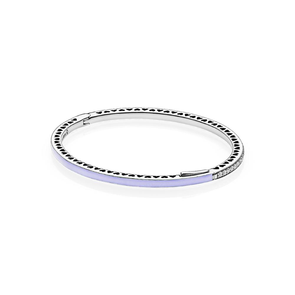 Radiant Hearts of PANDORA, Lavender Enamel & Clear CZ, Sterling silver, Enamel, Purple, Cubic Zirconia - PANDORA - #590537EN66