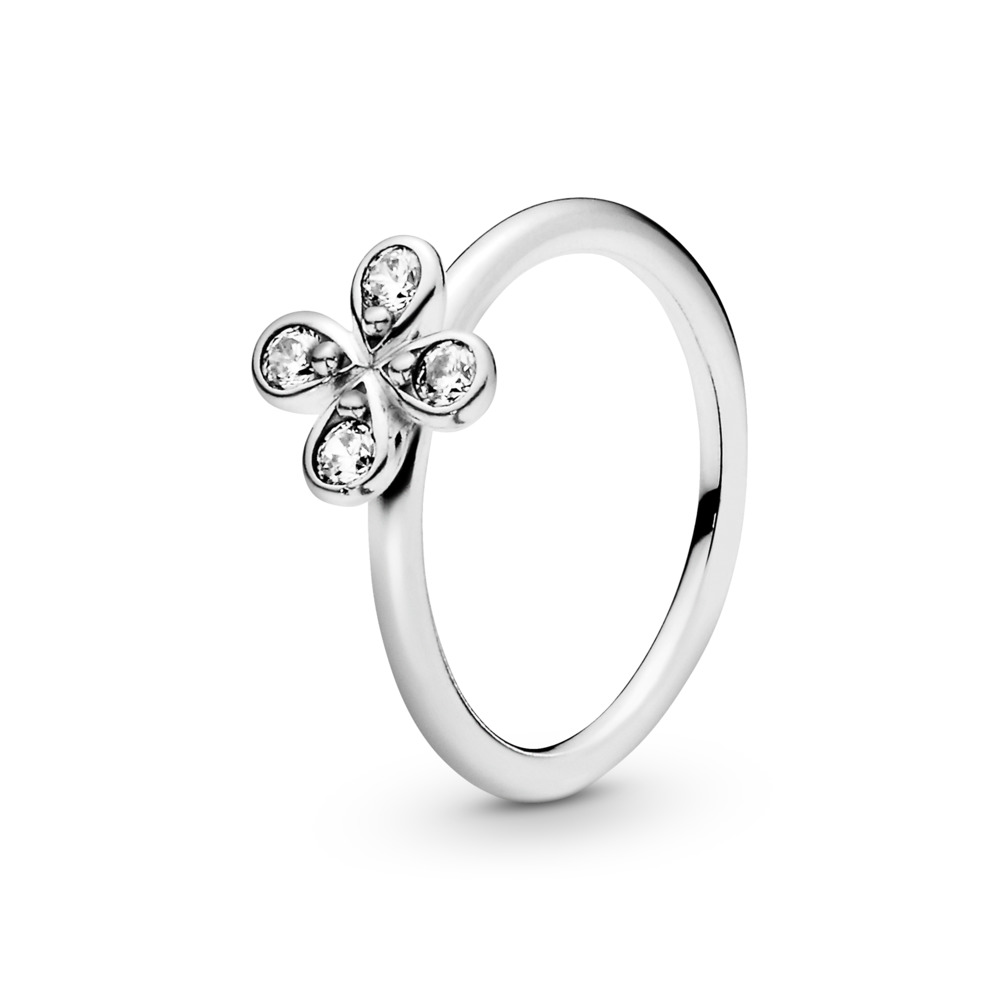 Four-Petal Flower Ring, Sterling silver, Cubic Zirconia - PANDORA - #197967CZ