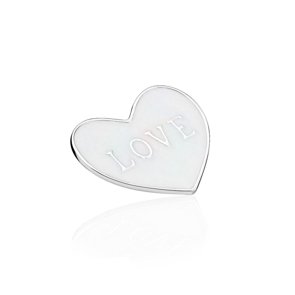 Plaque en cœur « Love », moyenne, argent sterling et émail