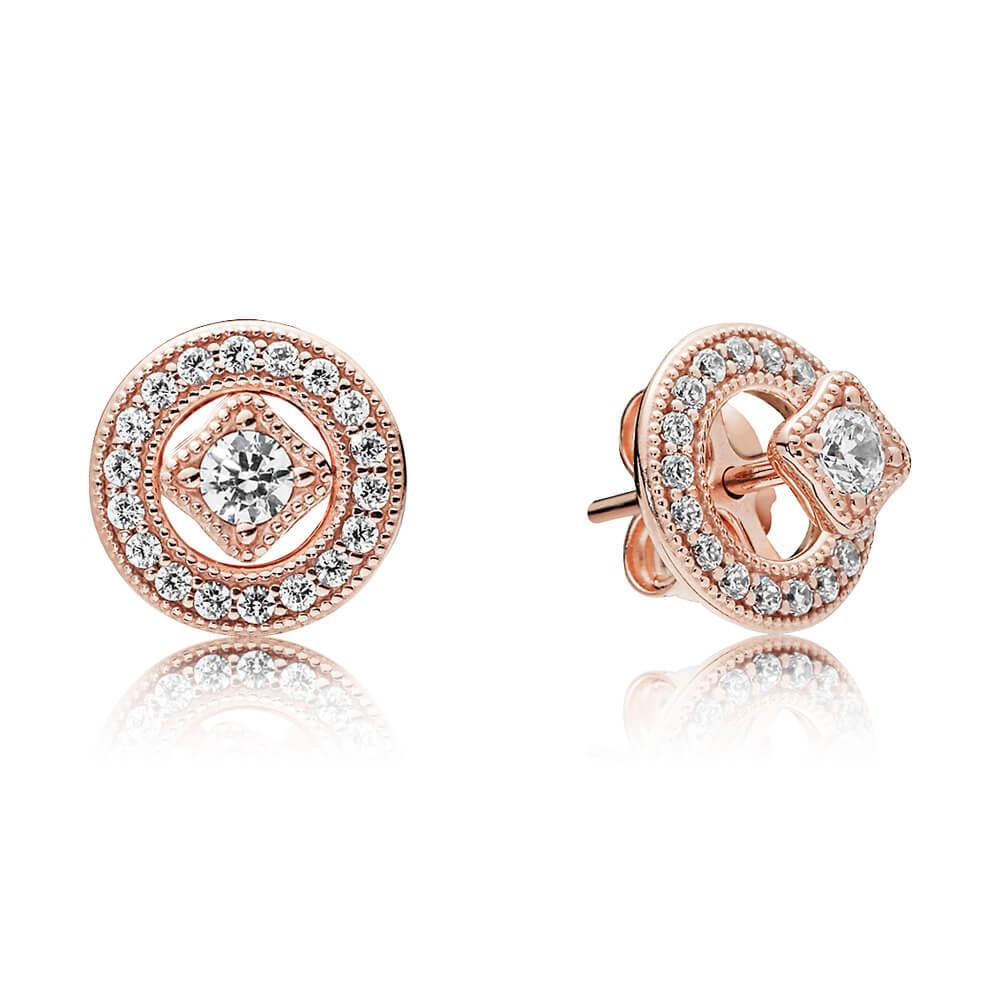 Vintage Allure Earrings, PANDORA Rose™ & Clear CZ