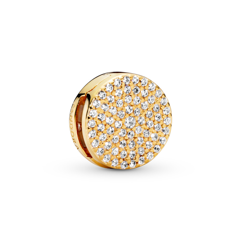 PANDORA Reflexions™ Dazzling Elegance Charm, PANDORA Shine™ & Clear CZ, 18ct gold-plated sterling silver, Silicone, Cubic Zirconia - PANDORA - #767583CZ