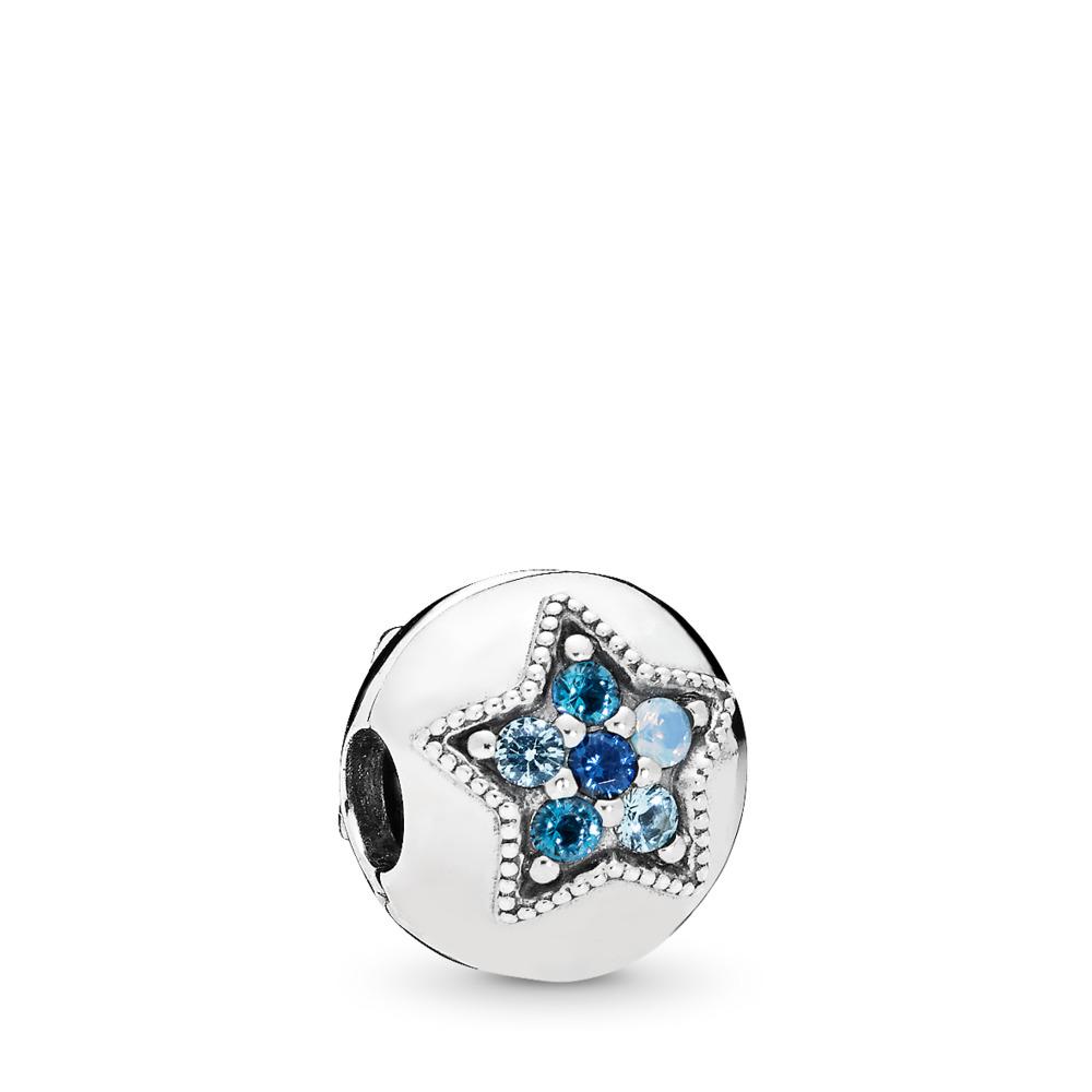 Clip Étoile lumineuse, cristaux multicolores, Argent sterling, Aucun autre matériel, Bleu, Cristal - PANDORA - #796380NSBMX