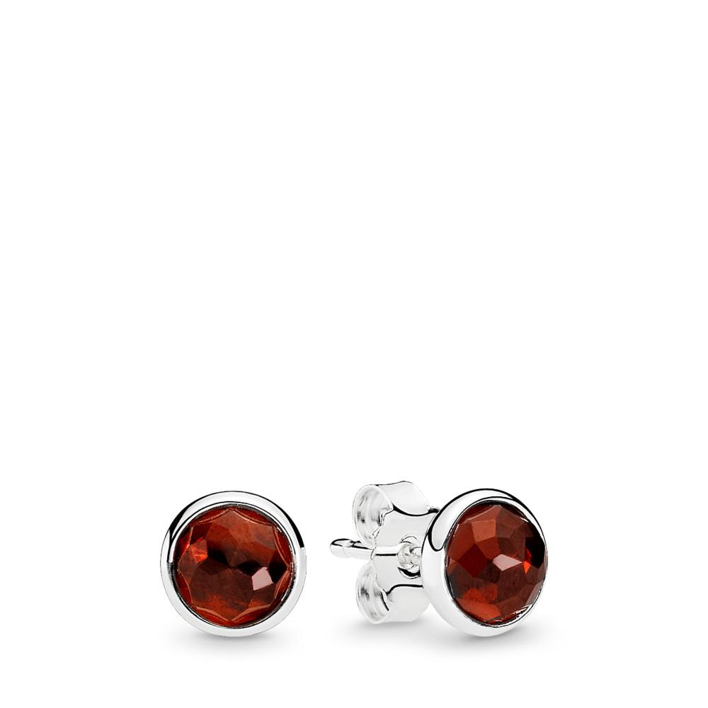 January Droplets, Garnet, Sterling silver, Red, Garnet - PANDORA - #290738GR