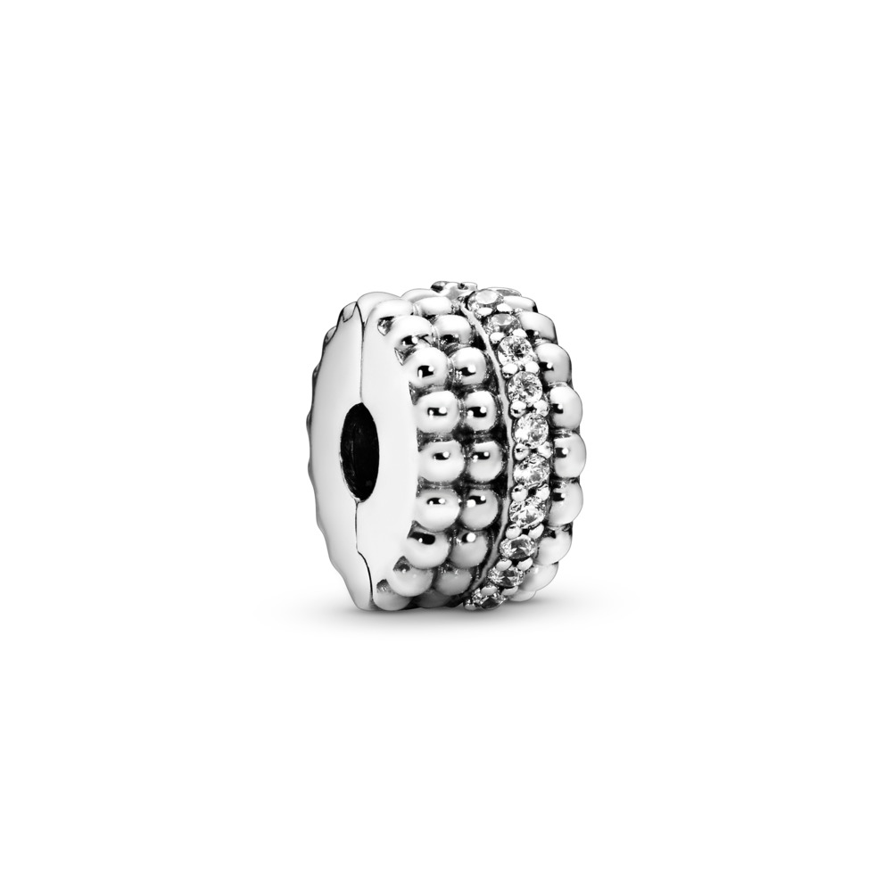 Beaded Brilliance Clip, Sterling silver, Cubic Zirconia - PANDORA - #797520CZ