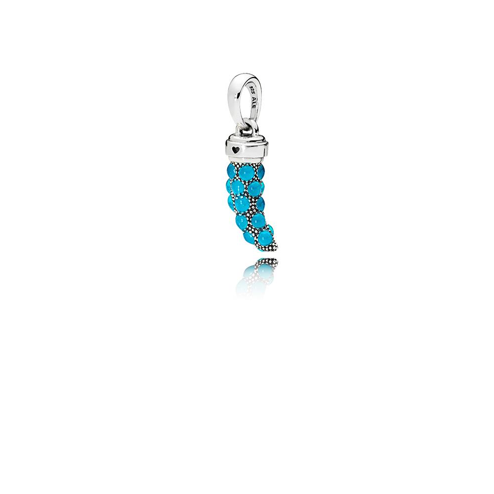 Pendentif amulette Corne italienne en édition limitée, émail turquoise
