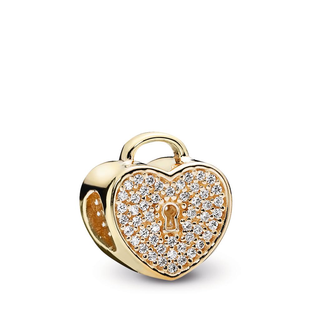 Heart Lock, Clear CZ & 14K Gold, Yellow Gold 14 k, Cubic Zirconia - PANDORA - #750833CZ