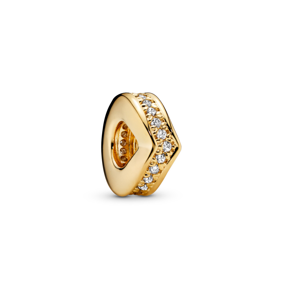 Shimmering Wish Spacer, PANDORA Shine™, 18ct gold-plated sterling silver, Cubic Zirconia - PANDORA - #767808CZ