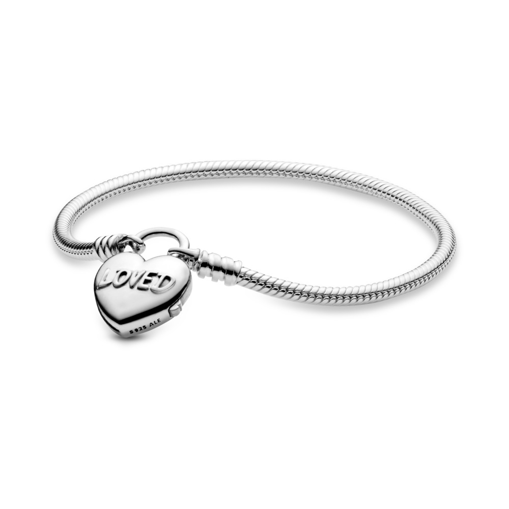 Classic Charm Bracelet with You Are Loved Heart Padlock Clasp, Sterling silver - PANDORA - #597806