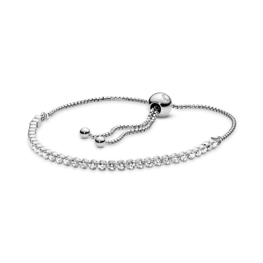 Bracelet Fil scintillant, CZ incolore, Argent sterling, Silicone, Aucune couleur, Zircon cubique - PANDORA - #590524CZ