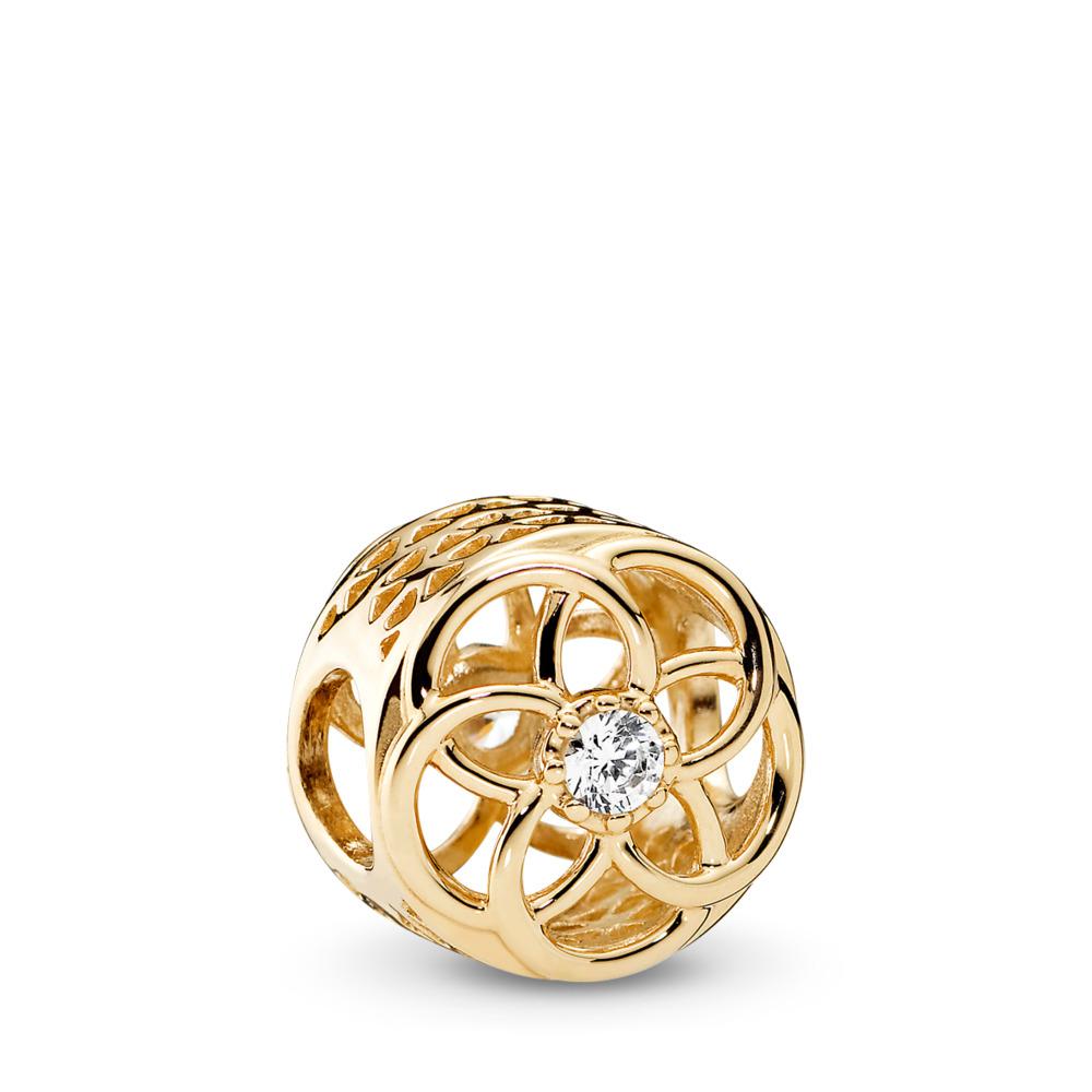 Loving Bloom, 14K Gold & Clear CZ, Yellow Gold 14 k, Cubic Zirconia - PANDORA - #750598CZ