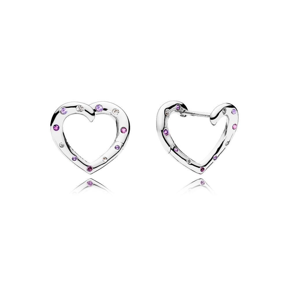 Boucles d'oreilles à anneaux Cœurs lumineux, cristaux violet royal et lilas, cz incolore