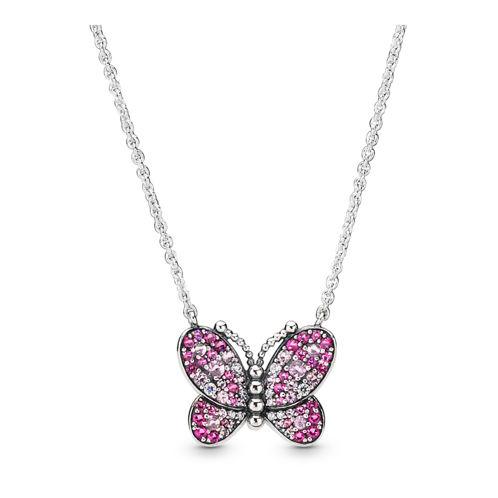 Dazzling Pink Butterfly Necklace, Sterling silver, Silicone, Mixed stones - PANDORA - #397931NCCMX