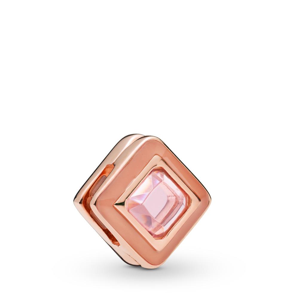 Pandora Reflexions™ Sparkling Pink Square Charm, PANDORA Rose, Enamel, Pink, Crystal - PANDORA - #787888NPO