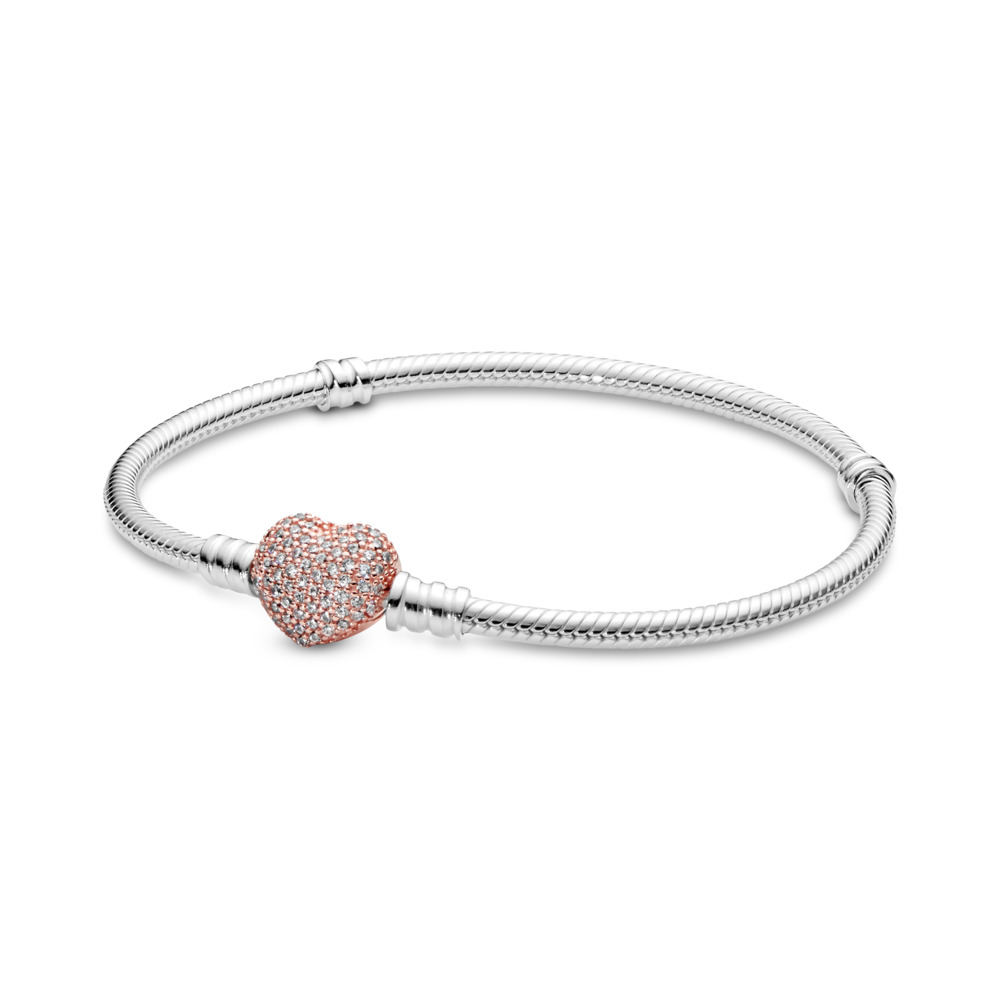 Sterling Silver Charm Bracelet with PANDORA Rose™ Pavé Heart Clasp, PANDORA Rose with sterling silver, Cubic Zirconia - PANDORA - #586292CZ