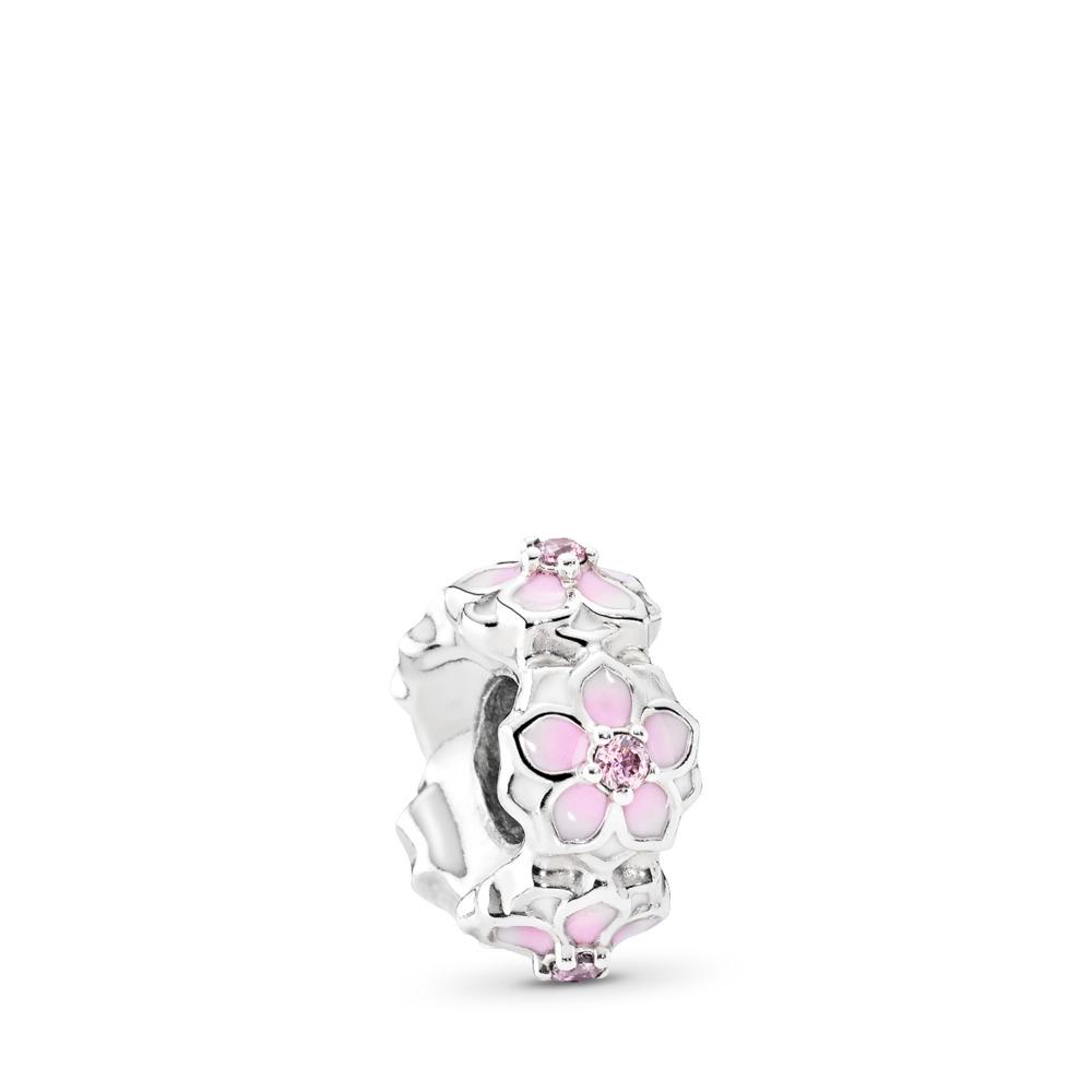 Magnolia Bloom, Pale Cerise Enamel & Pink CZ, Sterling silver, Enamel, Pink, Cubic Zirconia - PANDORA - #792088PCZ