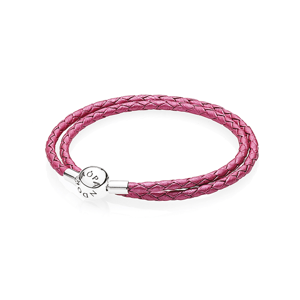 Honeysuckle Pink Leather Bracelet