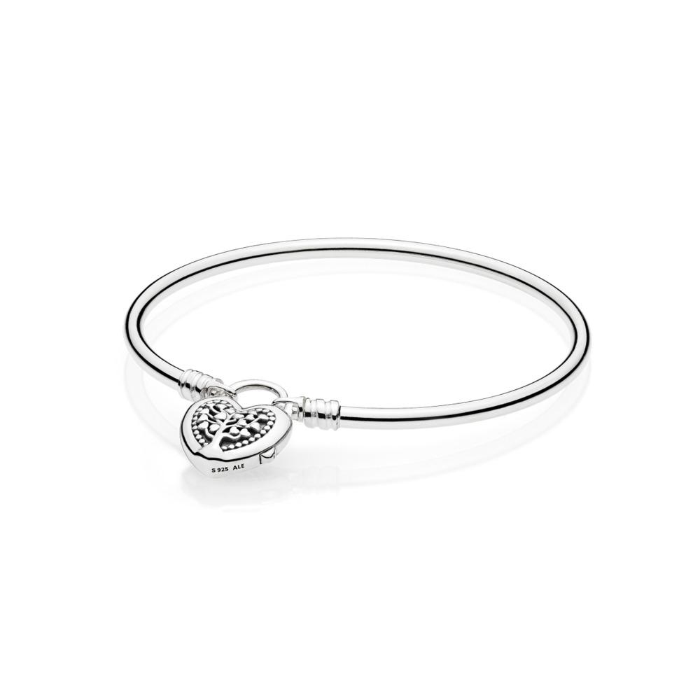 Moments Silver Bangle, Flourishing Hearts, Argent sterling, Aucun autre matériel, Aucune couleur, Aucune pierre - PANDORA - #597101