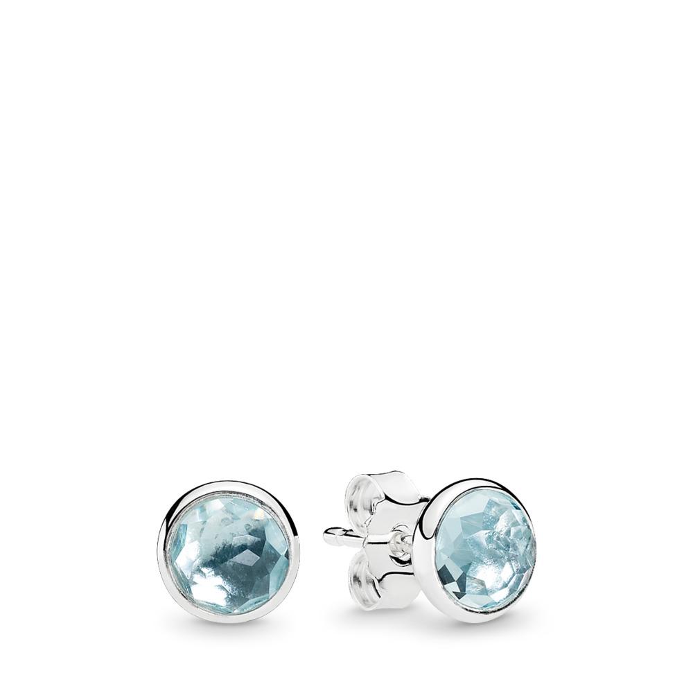 March Droplets, Aqua Blue Crystal, Sterling silver, Blue, Crystal - PANDORA - #290738NAB