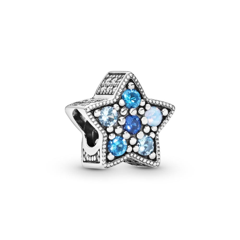 Charm Étoile lumineuse, cristaux multicolores, Argent sterling, Aucun autre matériel, Bleu, Pierres mélangées - PANDORA - #796379NSBMX