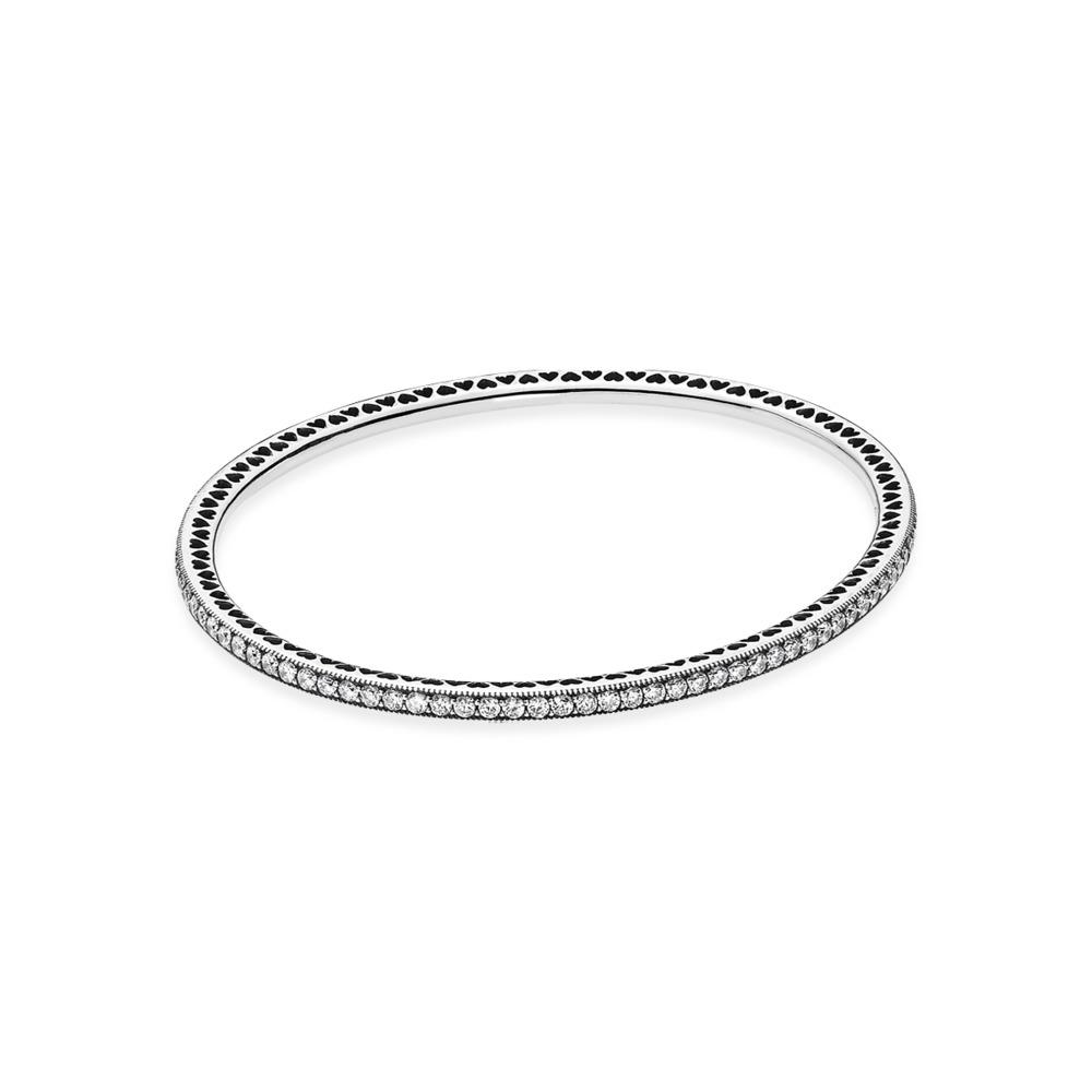 Twinkling Forever Bangle Bracelet, Sterling silver, Cubic Zirconia - PANDORA - #590511CZ