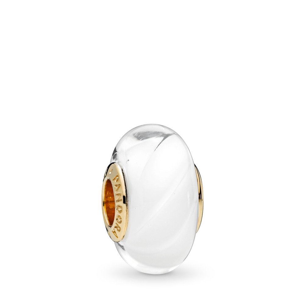 White Waves Charm, PANDORA Shine™ & Murano Glass, 18ct gold-plated sterling silver, Glass, White - PANDORA - #767160