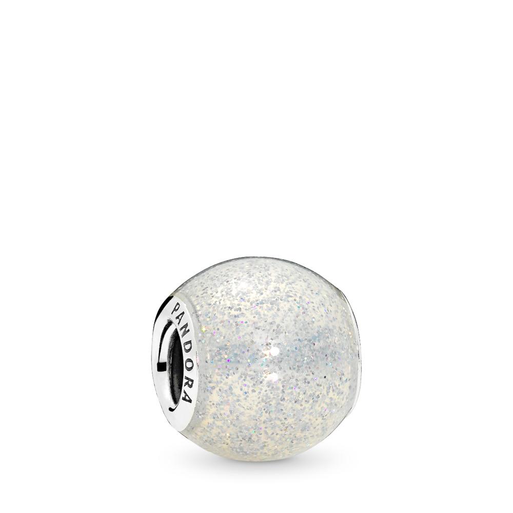 Glitter Ball, Silvery Glitter Enamel, Sterling silver, Enamel, White - PANDORA - #796327EN144