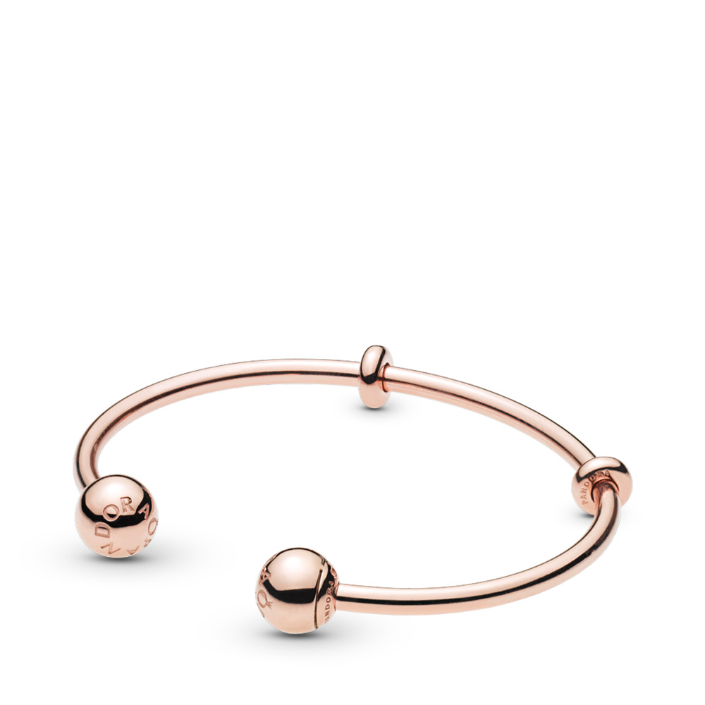 PANDORA Rose™ Open Charm Bangle, PANDORA Logo Caps, PANDORA Rose, Silicone - PANDORA - #586477
