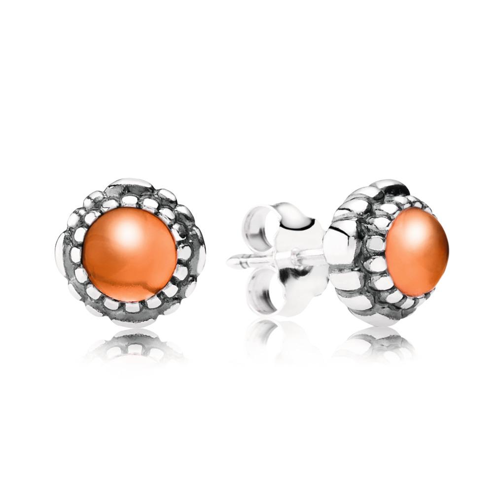 Birthday Blooms Stud Earrings, July, Carnelian, Sterling silver, Orange, Carnelian - PANDORA - #290543CAR
