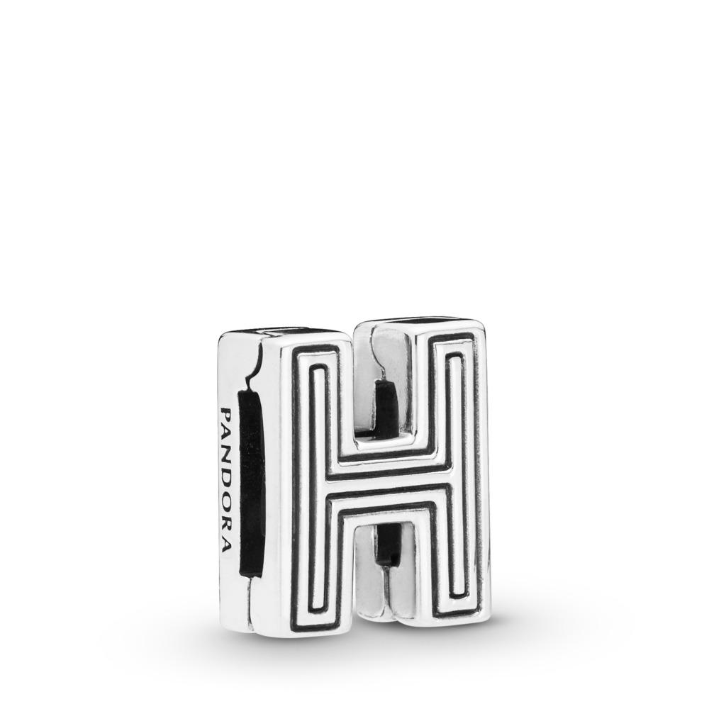 Charm Lettre H Pandora Reflexions, Argent sterling, Silicone, Aucune couleur, Aucune pierre - PANDORA - #798204