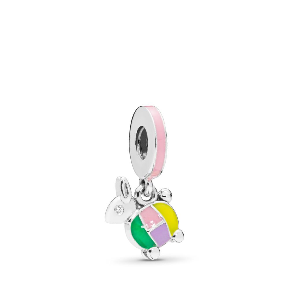 Charm pendentif Lapin à lanterne, Argent sterling, émail, Vert, Zircon cubique - PANDORA - #797603ENMX