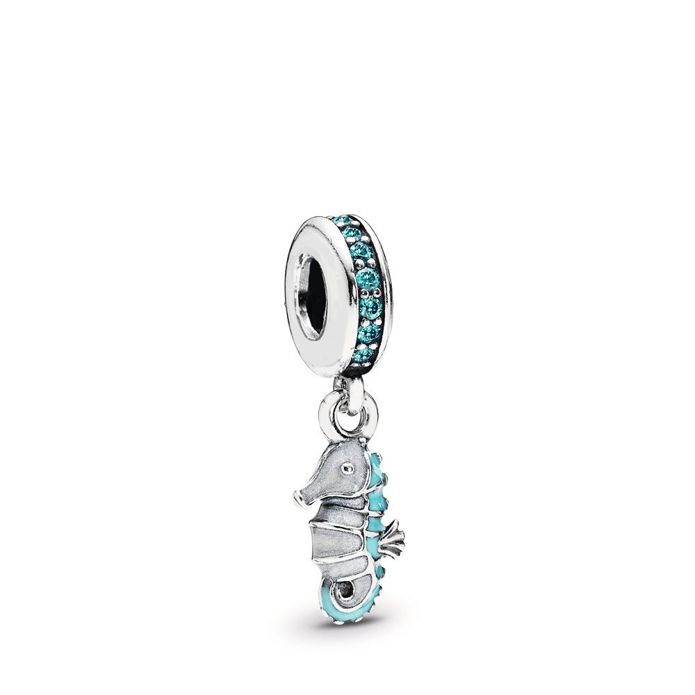 Tropical Seahorse, Teal CZ & Turquoise Enamel, Sterling silver, Enamel, Turquoise, Cubic Zirconia - PANDORA - #791311MCZ
