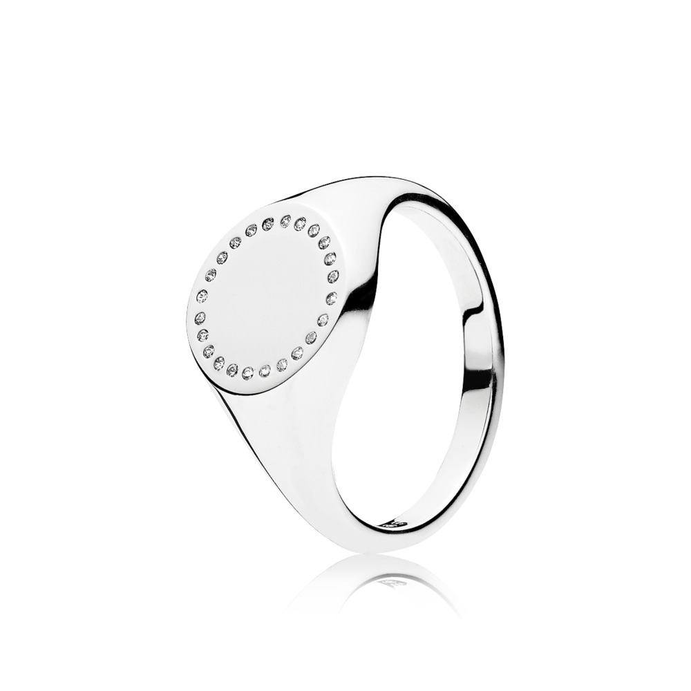Circle Signet, Clear CZ, Sterling silver, Cubic Zirconia - PANDORA - #191041CZ