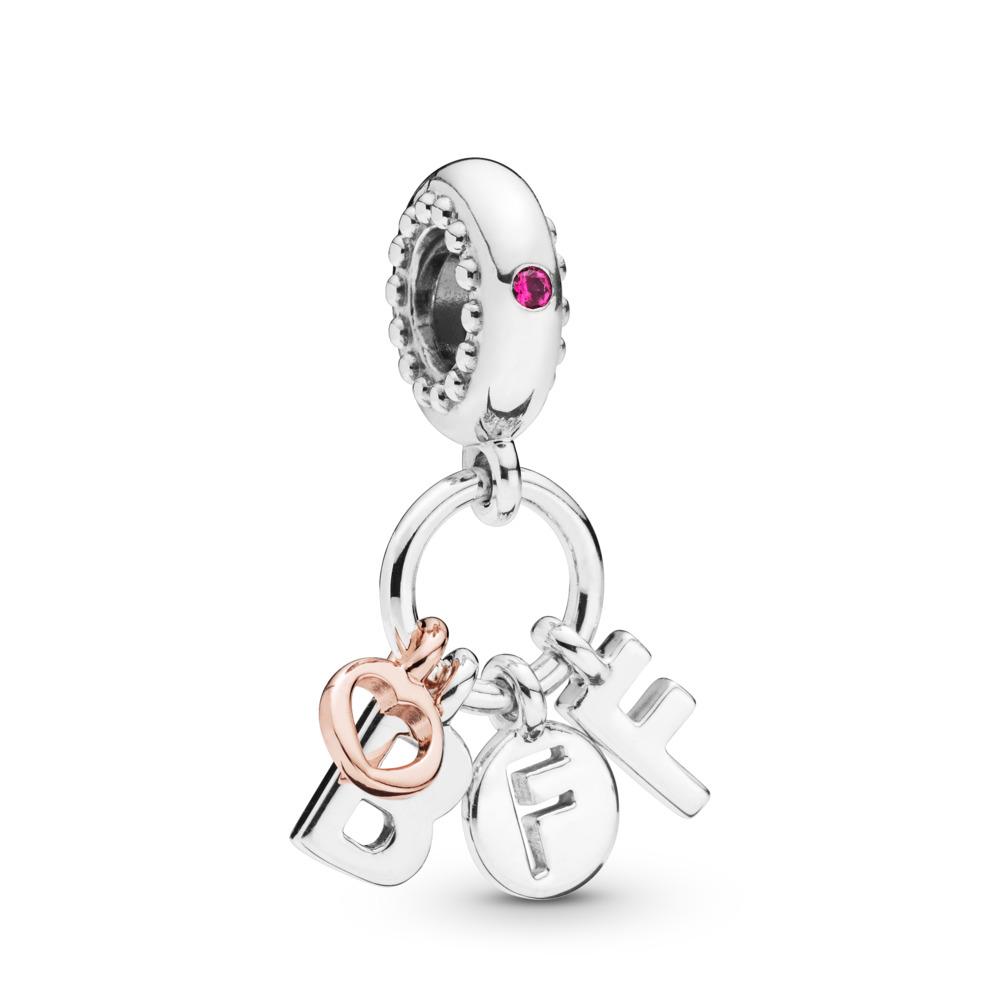 Charm-pendentif Meilleures amies pour toujours, PANDORA Rose with sterling silver, Aucun autre matériel, Rose, Cristal - PANDORA - #788165NCC