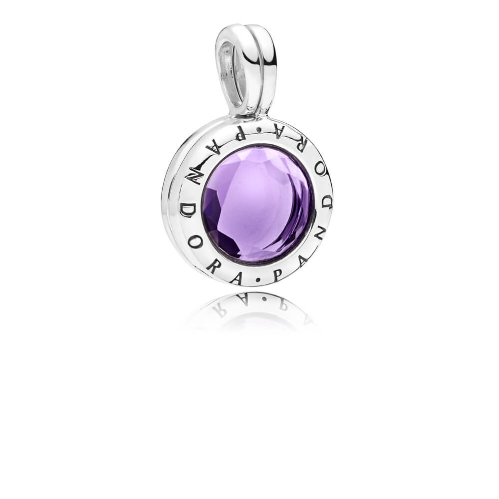 Limited Edition PANDORA Faceted Floating Locket Dangle Charm, Synthetic Amethyst