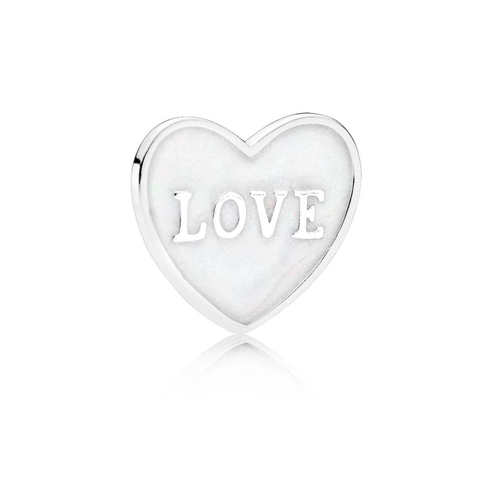 Love Heart Plate, Small, Silver Enamel, Sterling silver, Enamel, White - PANDORA - #792112EN23