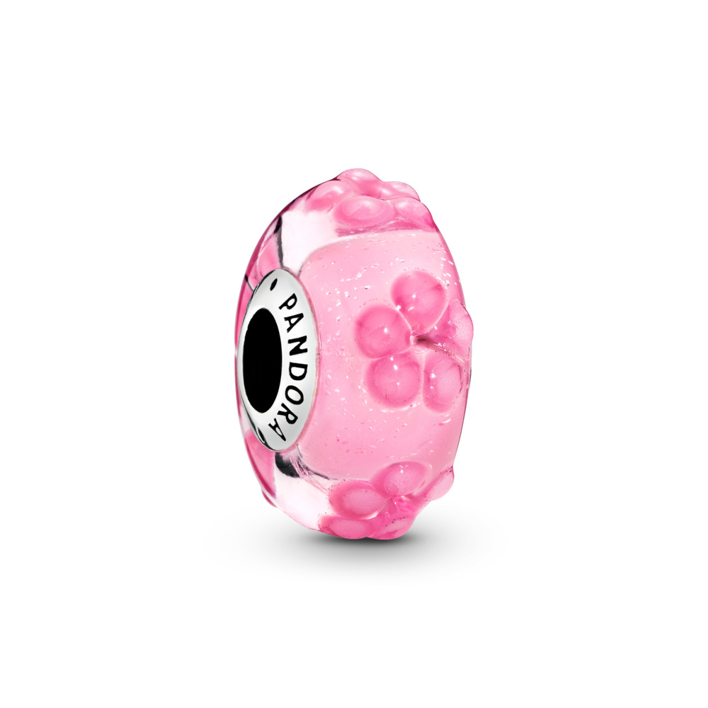 Pink Flower Murano Glass Charm, Sterling silver, Glass, Pink - PANDORA - #797901