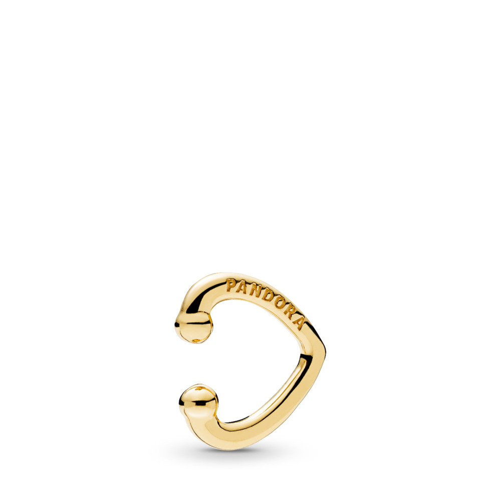 Open Heart Ear Cuff, PANDORA Shine™, 18ct gold-plated sterling silver - PANDORA - #267214