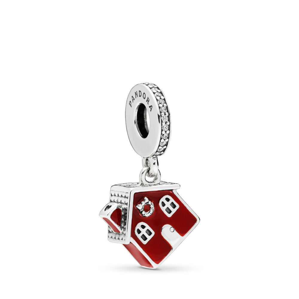 Cozy Christmas House Dangle Charm, Sterling silver, Enamel, Red, Cubic Zirconia - PANDORA - #797517EN27