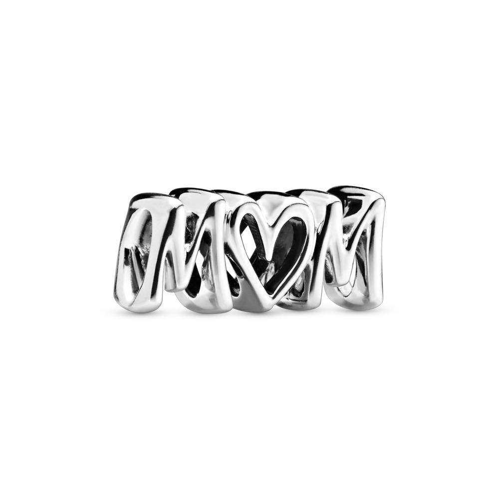Mom Script Charm, Sterling silver - PANDORA - #797778