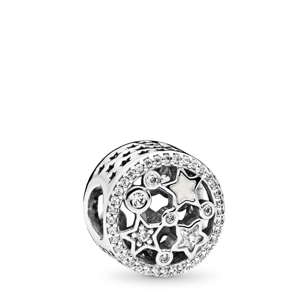 Charm Étoiles illuminées, émail argenté et cz incolore, Argent sterling, émail, Blanc, Zircon cubique - PANDORA - #796373CZ