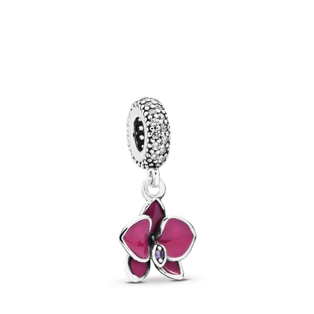 Orchid, CZ & Radiant Orchid-Colored Enamel, Sterling silver, Enamel, Purple, Cubic Zirconia - PANDORA - #791554EN69