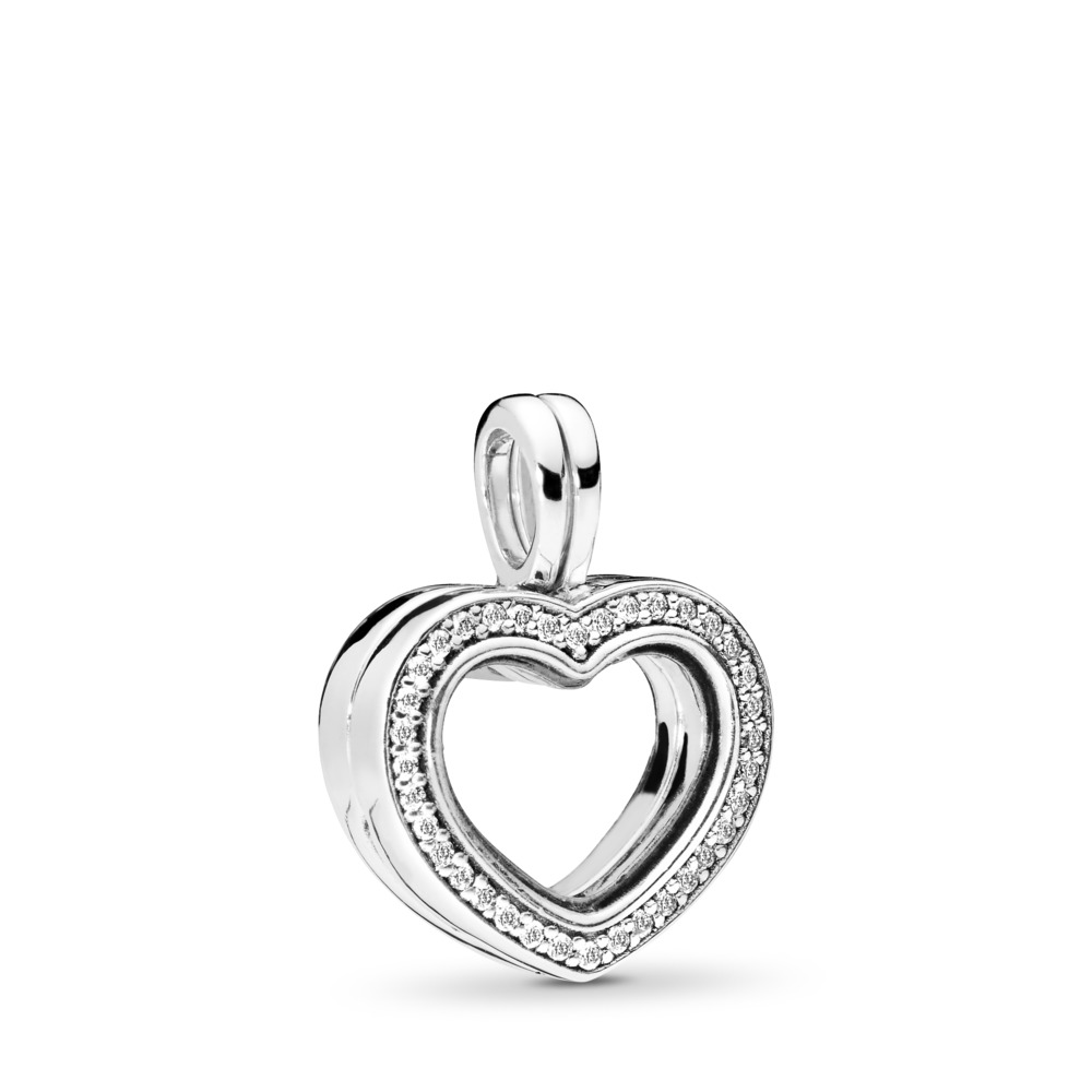 Sparkling PANDORA Floating Heart Locket Charm, Clear CZ, Sterling silver, Glass, Cubic Zirconia - PANDORA - #797248CZ