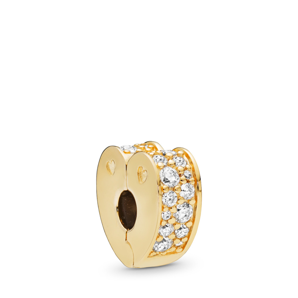 Sparkling Arcs of Love Clip, PANDORA Shine™ & Clear CZ, 18ct gold-plated sterling silver, Silicone, Cubic Zirconia - PANDORA - #767020CZ