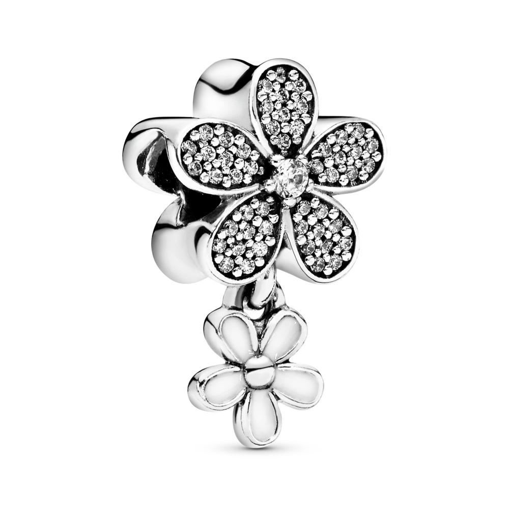 Dazzling Daisy Duo, White Enamel & Clear CZ, Sterling silver, Enamel, White, Cubic Zirconia - PANDORA - #792098CZ