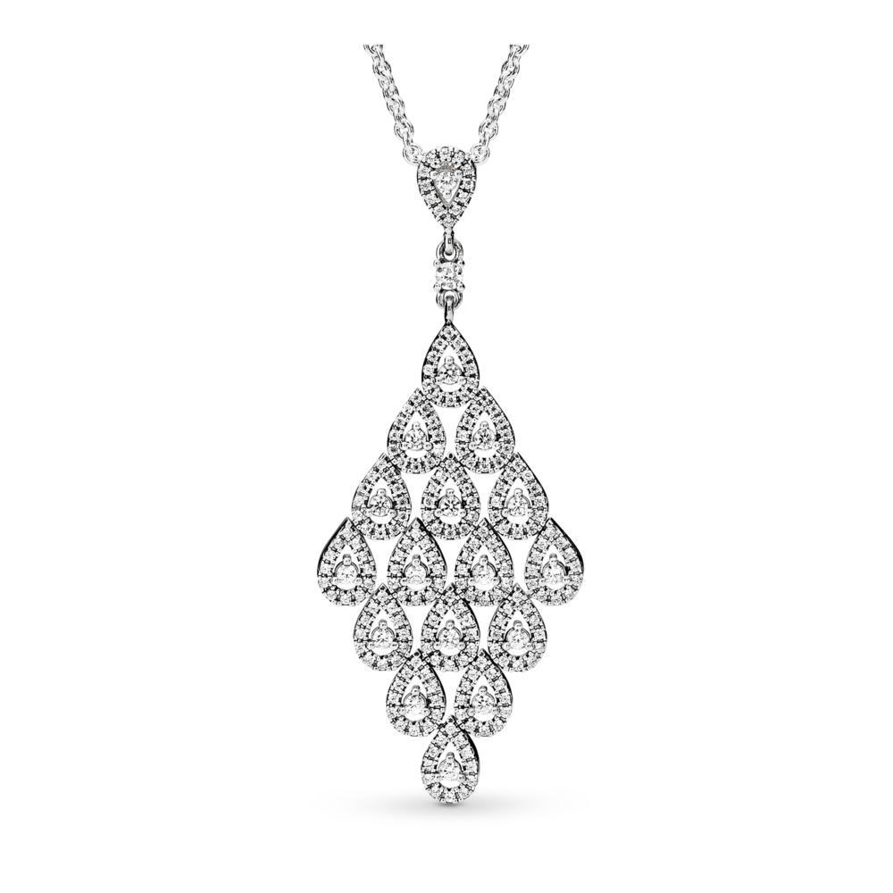 Cascading Glamour, Clear CZ, Sterling silver, Cubic Zirconia - PANDORA - #396262CZ