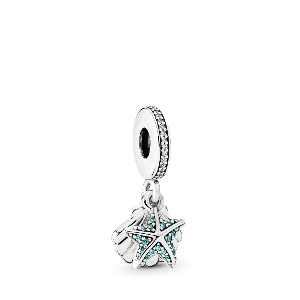 Tropical Starfish, & Sea Shell, Frosty Mint & Clear CZ, Sterling silver, Blue, Cubic Zirconia - PANDORA - #792076CZF