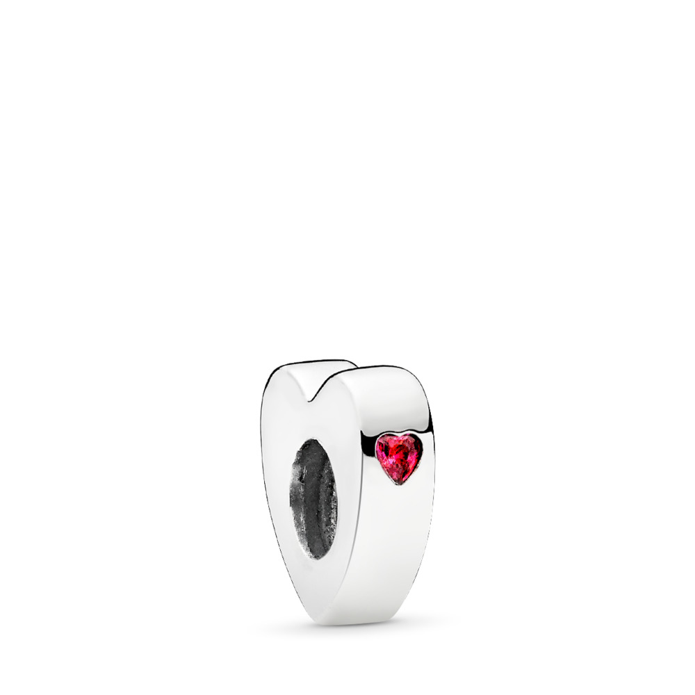Two Hearts Spacer, Clear CZ, Sterling silver, Red, Cubic Zirconia - PANDORA - #796559CZR